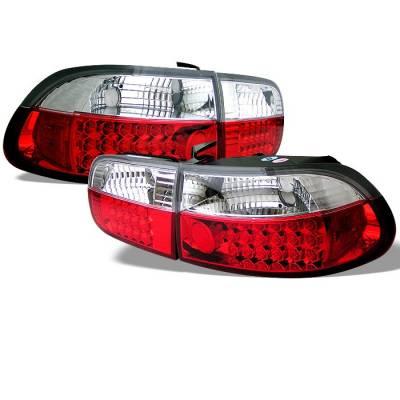 Spyder - Honda Civic 2DR & 4DR Spyder LED Taillights - Red Clear - 111-HC92-24D-LED-RC