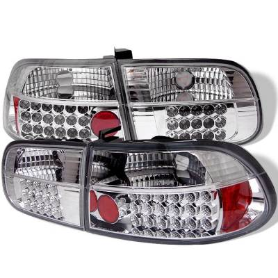 Spyder - Honda Civic HB Spyder LED Taillights - Chrome - 111-HC92-3D-LED-C