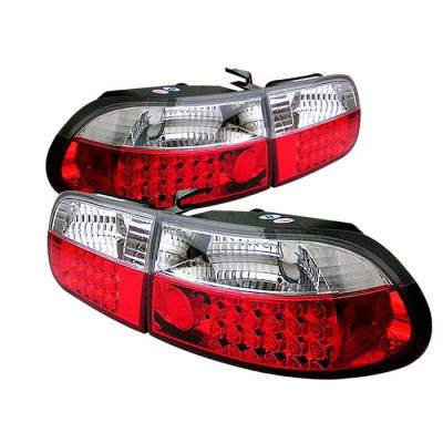 Spyder - Honda Civic HB Spyder LED Taillights - Red Clear - 111-HC92-3D-LED-RC