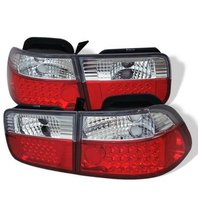 Spyder - Honda Civic 2DR Spyder LED Taillights - Red Clear - 111-HC96-2D-LED-RC