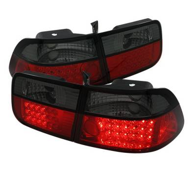 Spyder Auto - Honda Civic 2DR Spyder LED Taillights - Red Smoke - 111-HC96-2D-RS