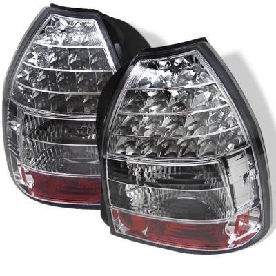 Spyder - Honda Civic HB Spyder LED Taillights - Chrome - 111-HC96-3D-LED-C