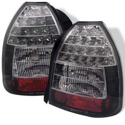 Spyder Auto - Honda Civic HB Spyder LED Taillights - Black - 111-HC96-4D-BK