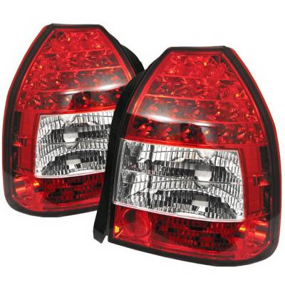 Spyder Auto - Honda Civic HB Spyder LED Taillights - Red Clear - 111-HC96-4D-C