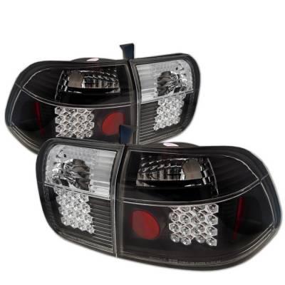 Spyder - Honda Civic 4DR Spyder LED Taillights - Black - 111-HC96-4D-LED-BK