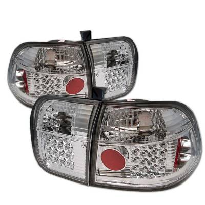 Spyder - Honda Civic 4DR Spyder LED Taillights - Chrome - 111-HC96-4D-LED-C