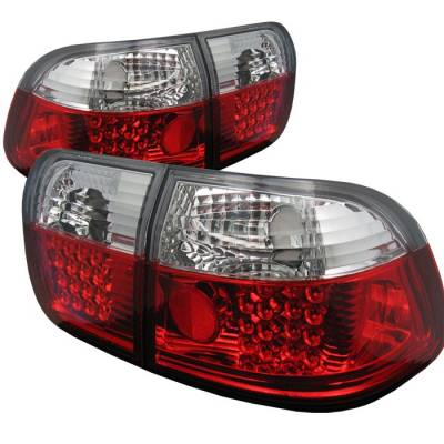 Spyder - Honda Civic 4DR Spyder LED Taillights - Red Clear - 111-HC96-4D-LED-RC