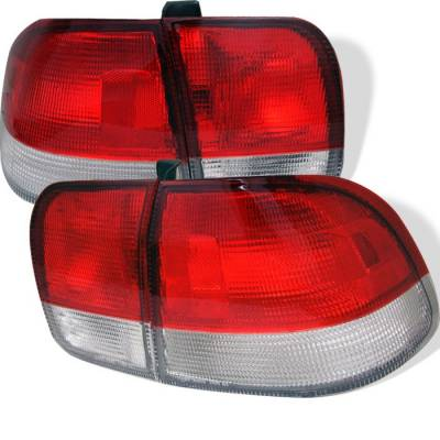 Spyder - Honda Civic 4DR Spyder Euro Style Taillights - Red Clear - 111-HC96-4D-RC