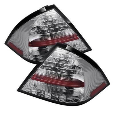 Spyder - Mercedes-Benz C Class Spyder LED Taillights - Chrome - 111-MBZC05-LED-C