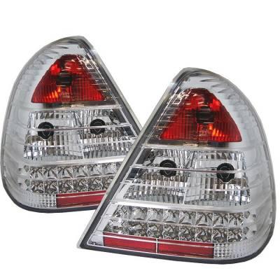 Spyder - Mercedes-Benz C Class Spyder LED Taillights - Chrome - 111-MBZC94-LED-C