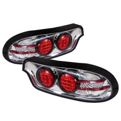 Spyder - Mazda RX-7 Spyder LED Taillights - Chrome - 111-MRX793-LED-C