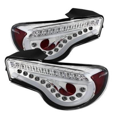 Spyder - Scion FRS Spyder Light Bar LED Taillights - Chrome - 111-SFRS12-LBLED-C