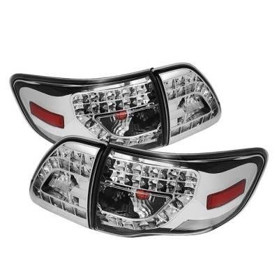 Spyder - Toyota Corolla Spyder LED Taillights - Chrome - 111-TC09-LED-C