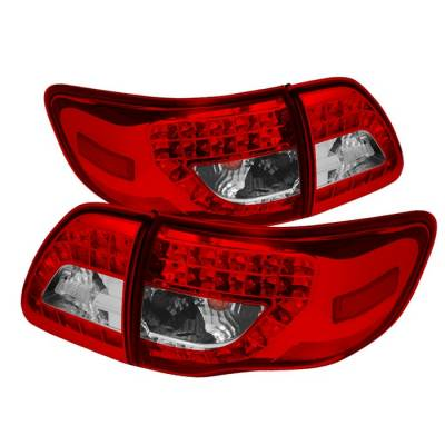 Spyder - Toyota Corolla Spyder LED Taillights - Red Clear - 111-TC09-LED-RC