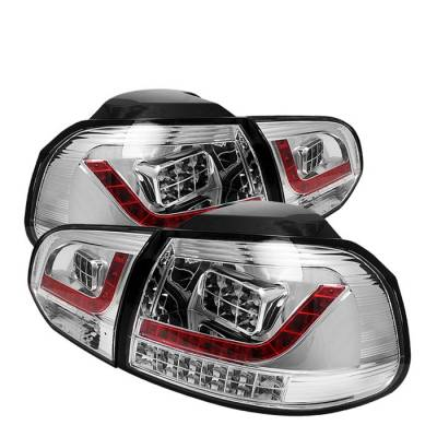 Spyder - Volkswagen Golf GTI Spyder LED Taillights - Chrome - 111-VG10-LED-C