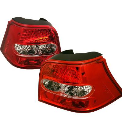 Spyder - Volkswagen Golf Spyder LED Taillights - Red Clear - 111-VG98-LED-RC