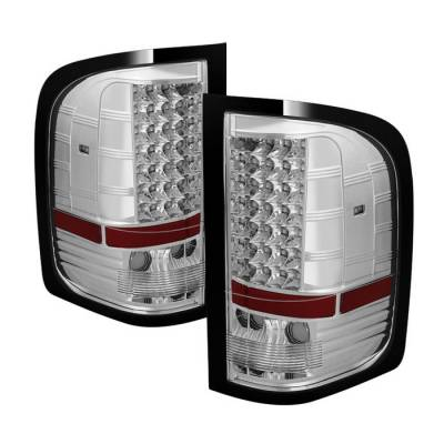 Spyder - Chevrolet Silverado Spyder LED Taillights - Chrome - ALT-JH-CS07-LED-C