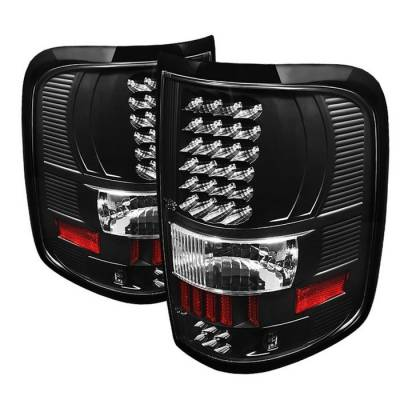 Spyder - Ford F150 Spyder LED Taillights - Black - ALT-ON-FF15004-LED-BK