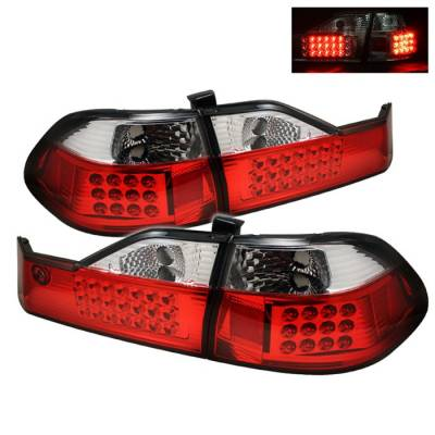 Spyder Auto - Honda Accord 4DR Spyder LED Taillights - Red Clear - ALT-ON-HA98-LED-RC