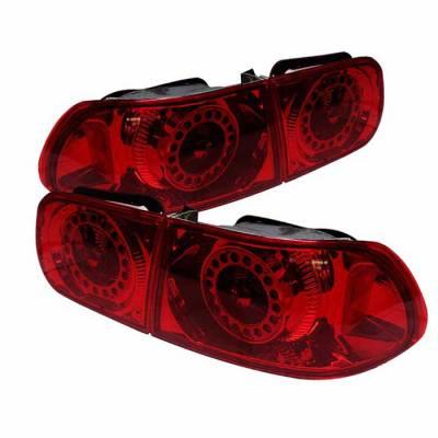 Spyder Auto - Honda Civic 2DR & 4DR Spyder LED Taillights - All Red - ALT-YJ9295TLZ4-24D-RD-LED