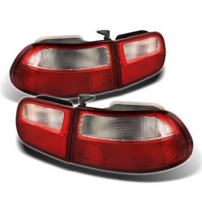 Spyder Auto - Honda Civic HB Spyder Taillights - Red Clear - ALT-ZO-HC92-3D-RC