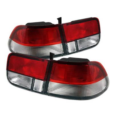 Spyder Auto - Honda Civic 2DR Spyder Taillights - Red Clear - ALT-ZO-HC96-2D-RC