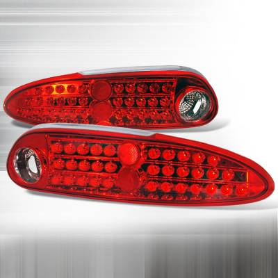 Spec-D - Chevrolet Camaro Spec-D LED Taillights - Red & Chrome - LT-CMR93RCLED-KS