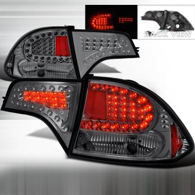 Spec-D - Honda Civic 4DR Spec-D LED Taillights - Smoke - LT-CV064GLED-KS