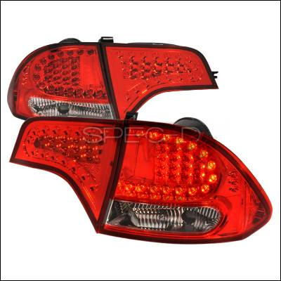 Spec-D - Honda Civic 4DR Spec-D LED Taillights - Red & Chrome - LT-CV064RCLED-KS