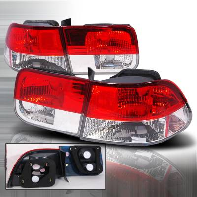 Spec-D - Honda Civic 2DR Spec-D Altezza Taillights - Red & Clear - LT-CV962RPW-KS