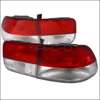 Spec-D - Honda Civic 2DR Spec-D Taillights - Red & Clear - LT-CV962RPW-RS