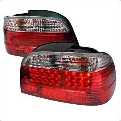 Spec-D - BMW 7 Series Spec-D Fiber Optic LED Taillights - Red & Clear - LT-E384RPW-F2-APC