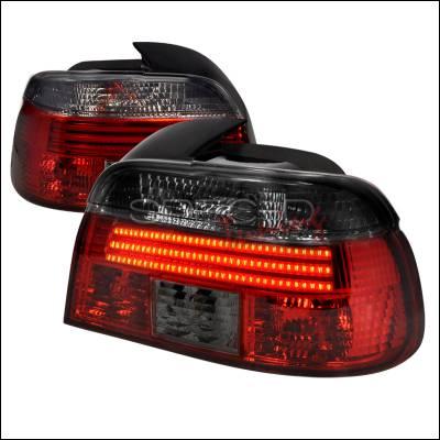 Spec-D - BMW 5 Series Spec-D Fiber Optic LED Taillights - Red & Smoke - LT-E394RG-F2-APC