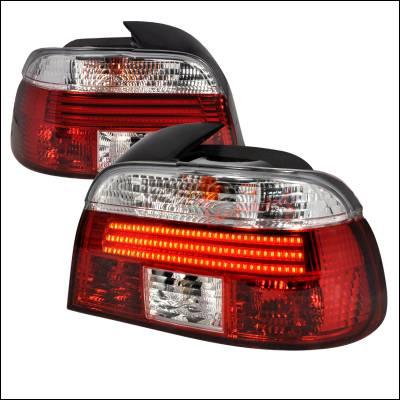 Spec-D - BMW 5 Series Spec-D Fiber Optic LED Taillights - Red & Clear - LT-E394RPW-F2-APC