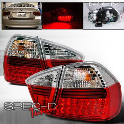 Spec-D - BMW 3 Series 4DR Spec-D LED Taillights - Red - LT-E9005RLED-APC