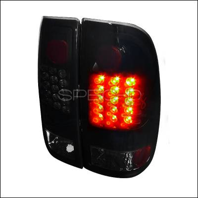Spec-D - Ford F150 Spec-D LED Taillights - Glossy - Black Housing with Smoke Lens - LT-F15097BBLED-TM