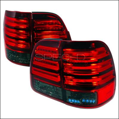 Spec-D - Toyota Land Cruiser Spec-D LED Taillights - Red & Smoke - LT-LCR98RGLED-KS