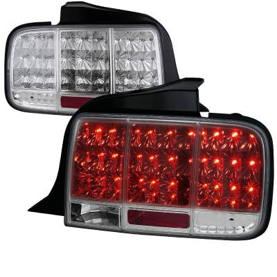 Spec-D - Ford Mustang Spec-D Sequential LED Taillights - Chrome - LT-MST05CLED-SQ-TM