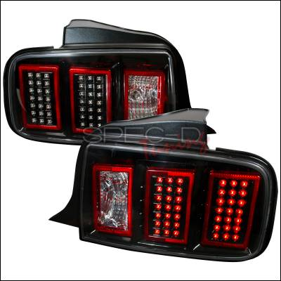 Spec-D - Ford Mustang Spec-D LED Taillights - Black - LT-MST05JMLED-DP