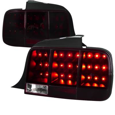 Spec-D - Ford Mustang Spec-D Sequential LED Taillights - Red & Smoke - LT-MST05RGLED-SQ-TM