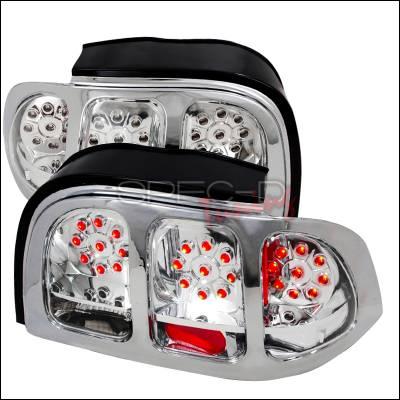 Spec-D - Ford Mustang Spec-D LED Taillights - Chrome - LT-MST94CLED-KS