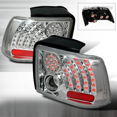 Spec-D - Ford Mustang Spec-D LED Taillights - Chrome with Clear Lens - LT-MST99CCLED-WJ