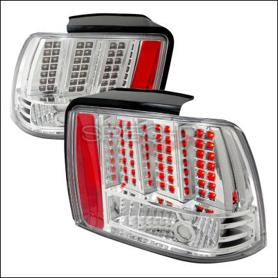 Spec-D - Ford Mustang Spec-D LED Taillights - Chrome - LT-MST99CLED-DP