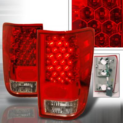 Spec-D - Nissan Titan Spec-D LED Taillights - Red - LT-TIT04RLED-KS