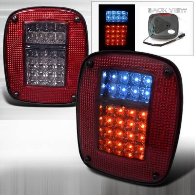 Spec-D - Jeep Wrangler Spec-D LED Taillights - Red & Smoke - LT-WRG87RGLED-APC