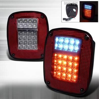 Spec-D - Jeep Wrangler Spec-D LED Taillights - Red - LT-WRG87RLED-APC
