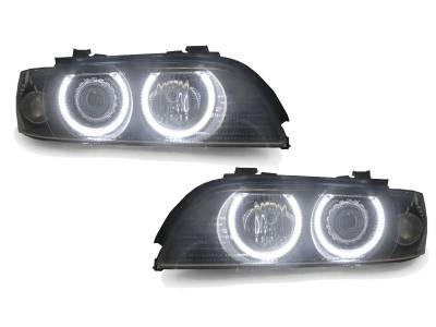 Depo - BMW E39 5 Series Uhp Led Angel Halo H7 Projector DEPO Headlight - Halogen Model