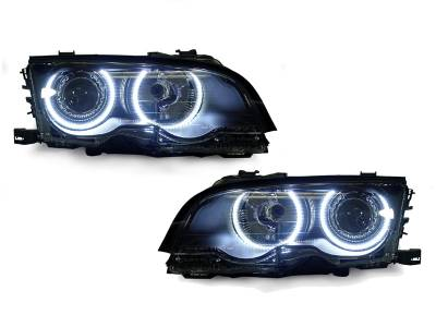 Depo - BMW E46 Black Projector Angel DEPO Headlight - H7 W/ Uhp Led Angel Halo Rings