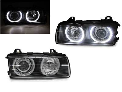 Depo - BMW E36 3-Series Glass Lens Projector DEPO Headlight W/ Uhp Led Angel Halo Rings