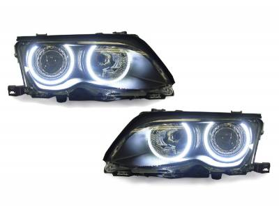 Depo - BMW E46 4D Black Projector Angel DEPO Headlight H7 W/ Uhp Led Angel Halo Rings